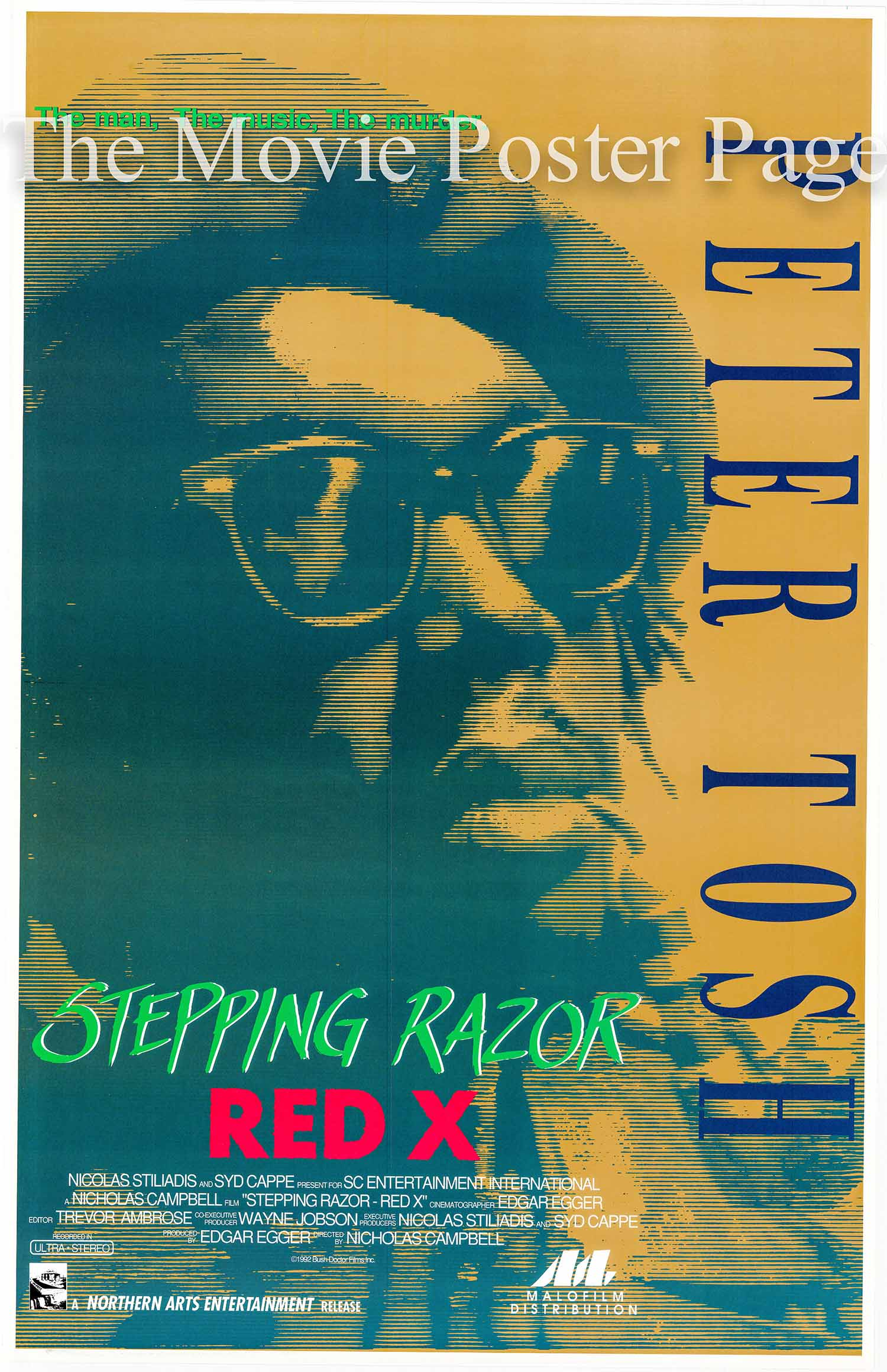 Pictured is a one-sheet poster made to promote the 1992 Nicholas Campbell documentary film Stepping Razor Red X covering the life of Peter Tosh.