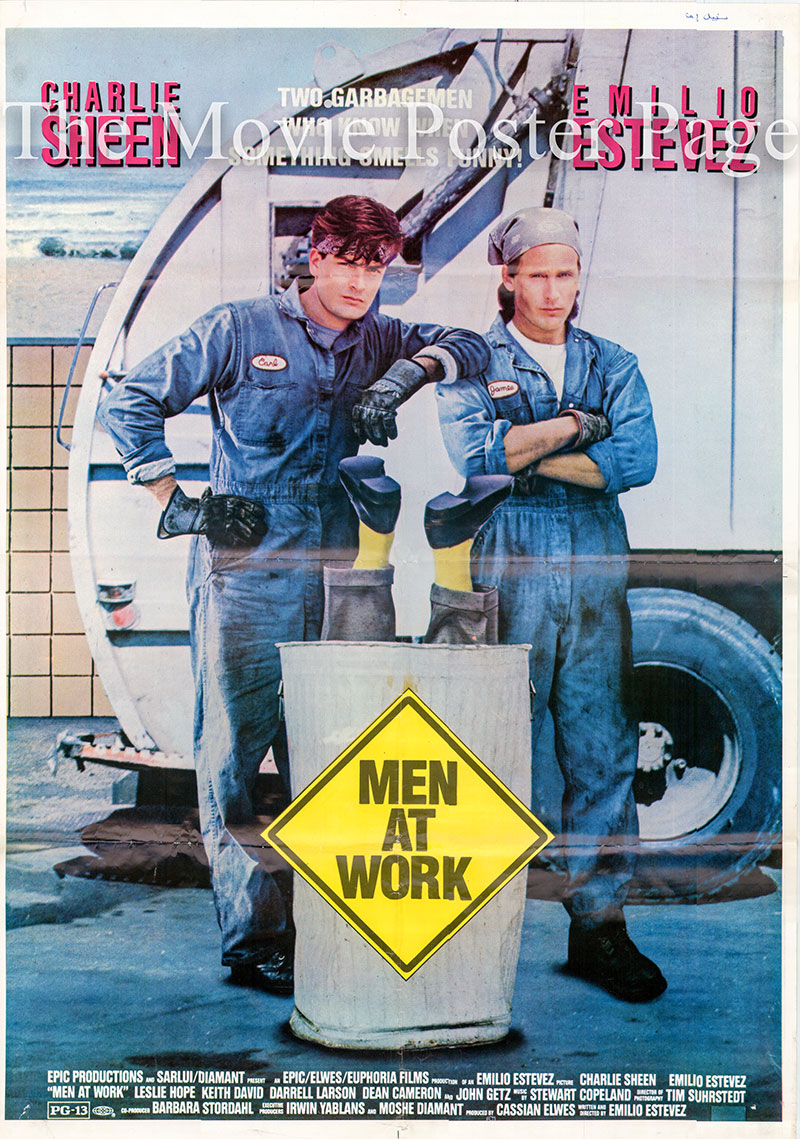 Pictured is an Italian poster for the 1990 Emilio Etevez film Men at Work starring Charlie Sheen.