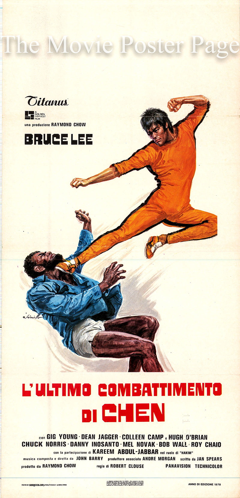 Pictured is an Italian locandina poster for the 1978 Robert Clouse film Game of Death starring Bruce Lee as Billy Lo.