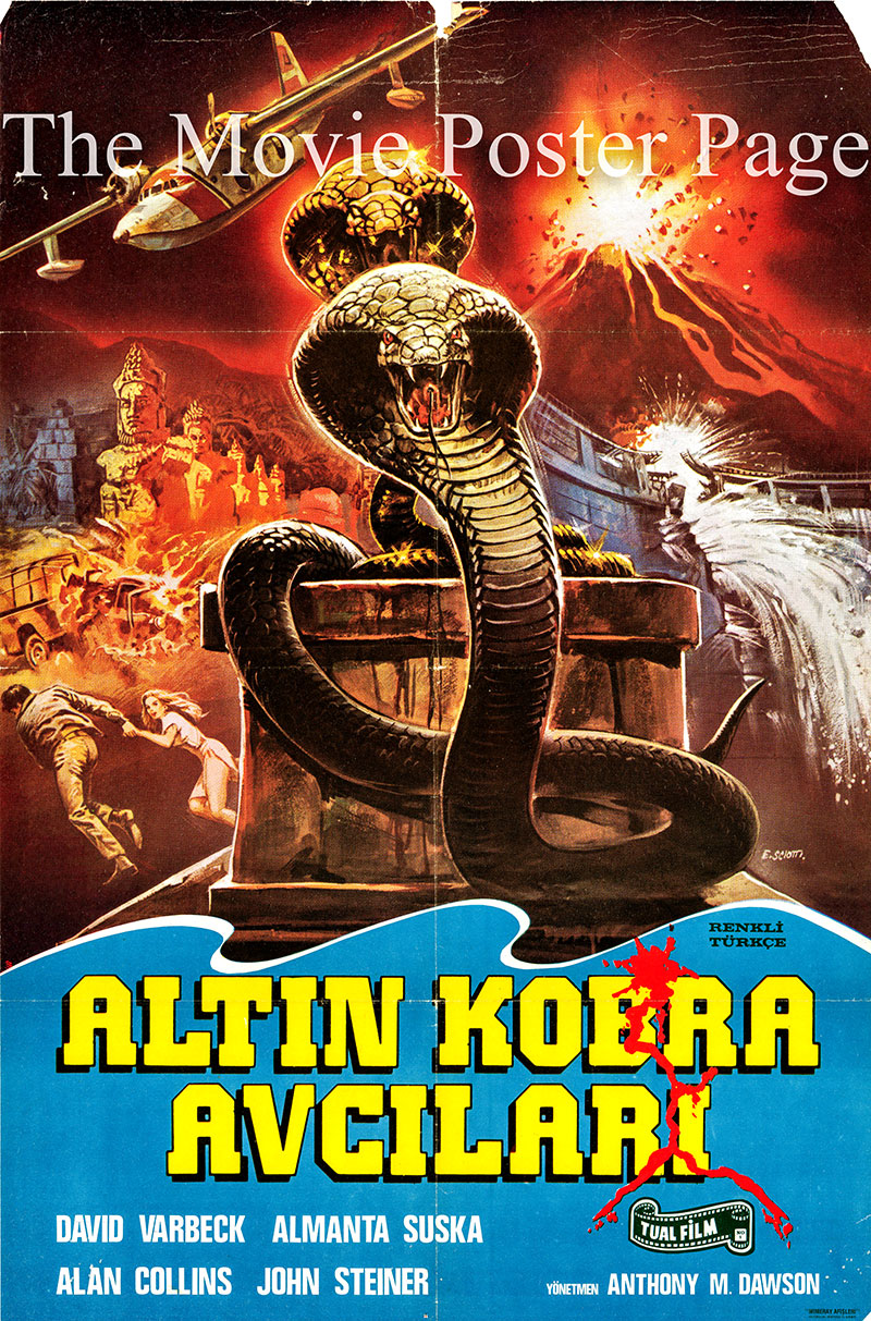 Pictured is a Turkish promotional poster for the 1982 Antonio Margheriti film Hunters of the Golden Cobra, starring David Warbeck.