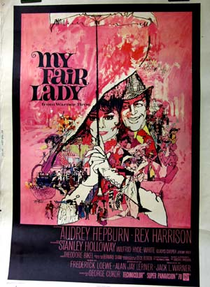 Pictured is the US 30x40 promtional poster for the 1964 George Cukor film My Fair Lady starring Audrey Hepburn and Rex Harrison.