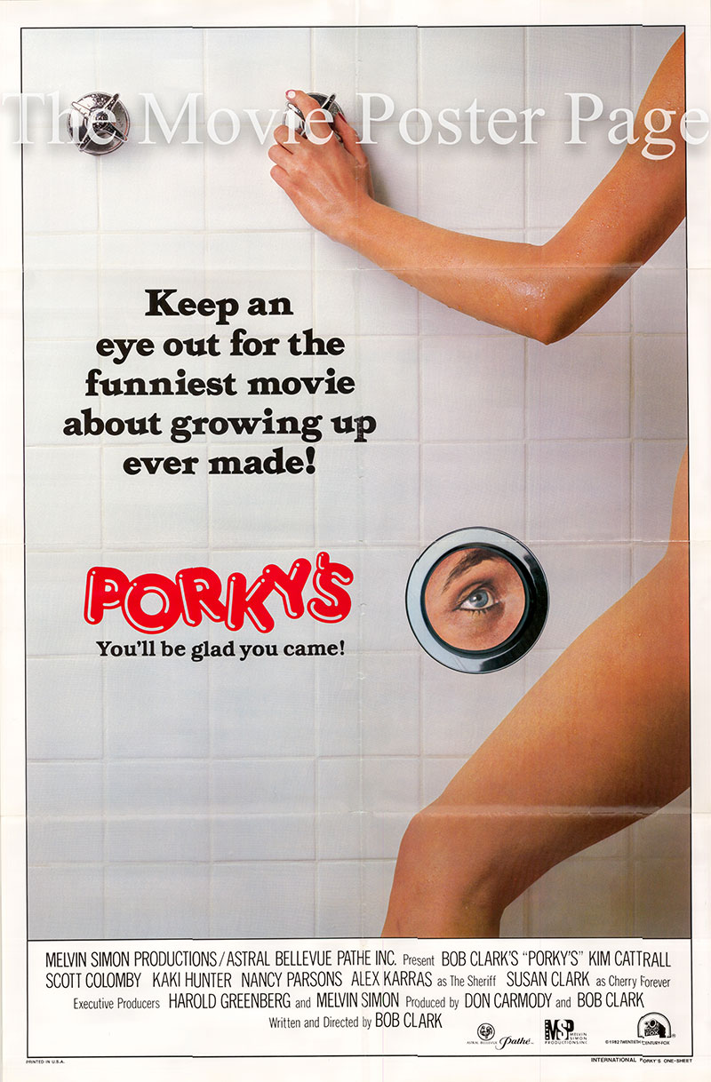 Pictured is a US one-sheet poster for the 1982 Bob Clark film Porky's starring Kim Catrall.