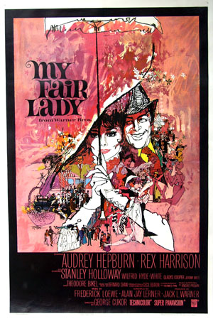 Pictured is the US one-sheet promtional poster for the 1964 George Cukor film My Fair Lady starring Audrey Hepburn and Rex Harrison.
