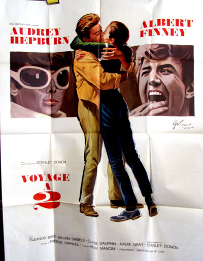 Pictured is a French grande promotional poster for the 1967 Stanley Donen film Two for the Road starring Audrey Hepburn and Albert Finney.