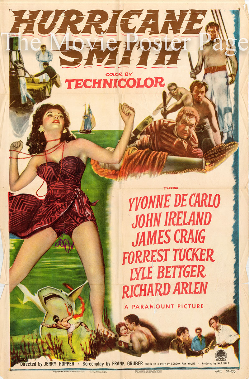 Pictured is a US one-sheet poster forthe 1952 Jerry Hopper film Hurricane Smith starring Yvonne de Carlo.
