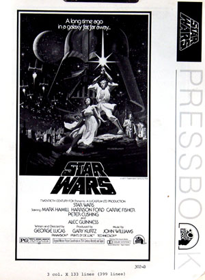 Pictured is a US one-sheet poster for a 1982 rerelease of the 1977 George Lucas film Star Wars starring Mark Hamill as Luke Skywalker.