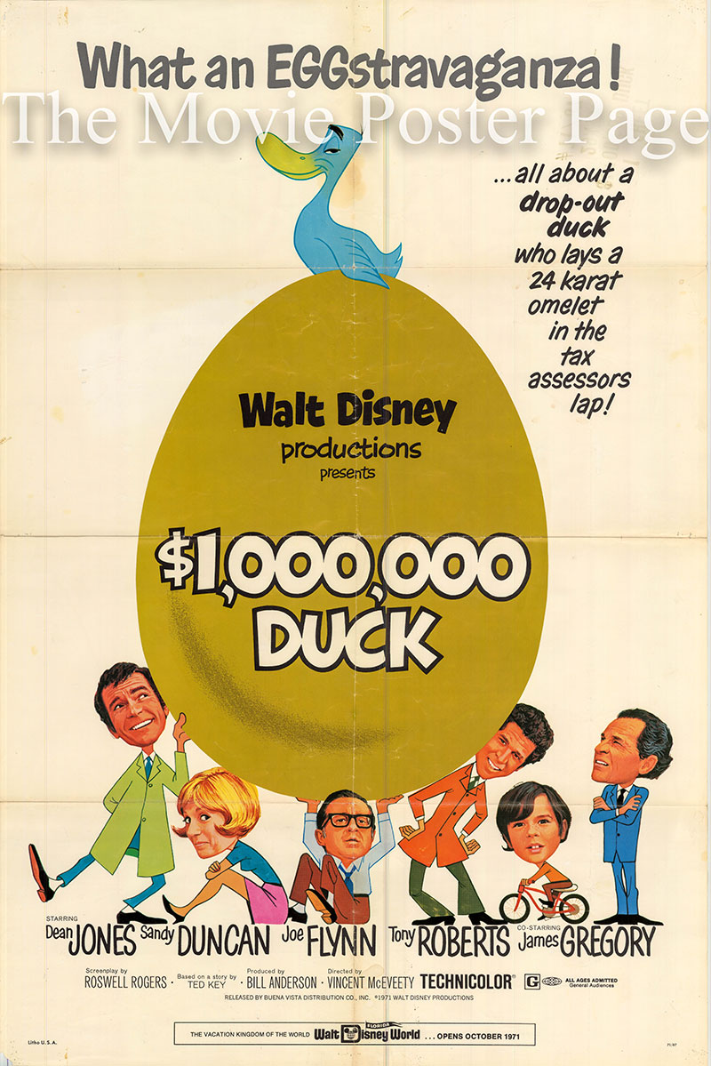 This is a US one-sheet poster for the 1971 Vincent McEveety film One Million Dollar Duck starring Dean Jones.