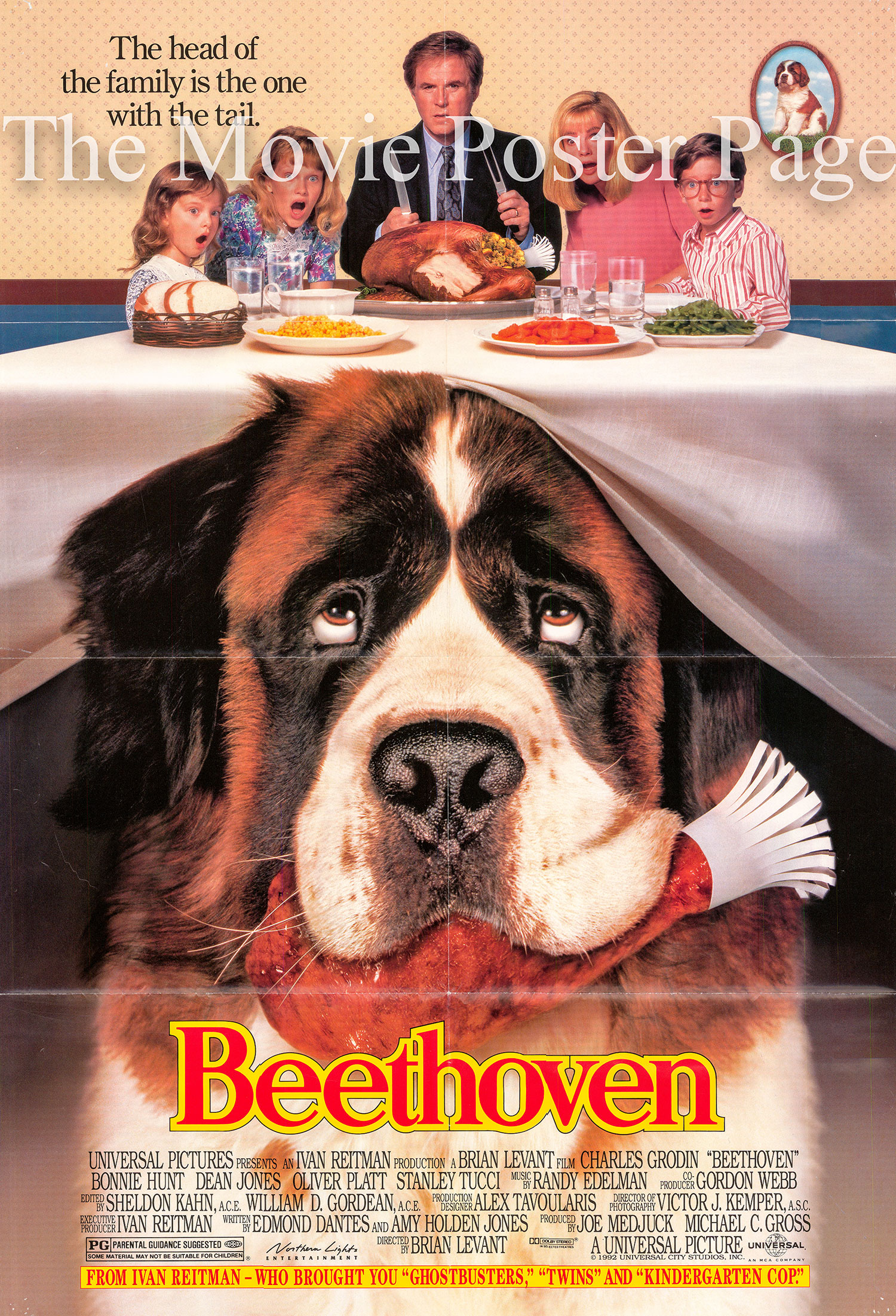 Pictured is a US one-sheet poster for the 1992 Brian Levant film Beethoven starring Charles Grodin.