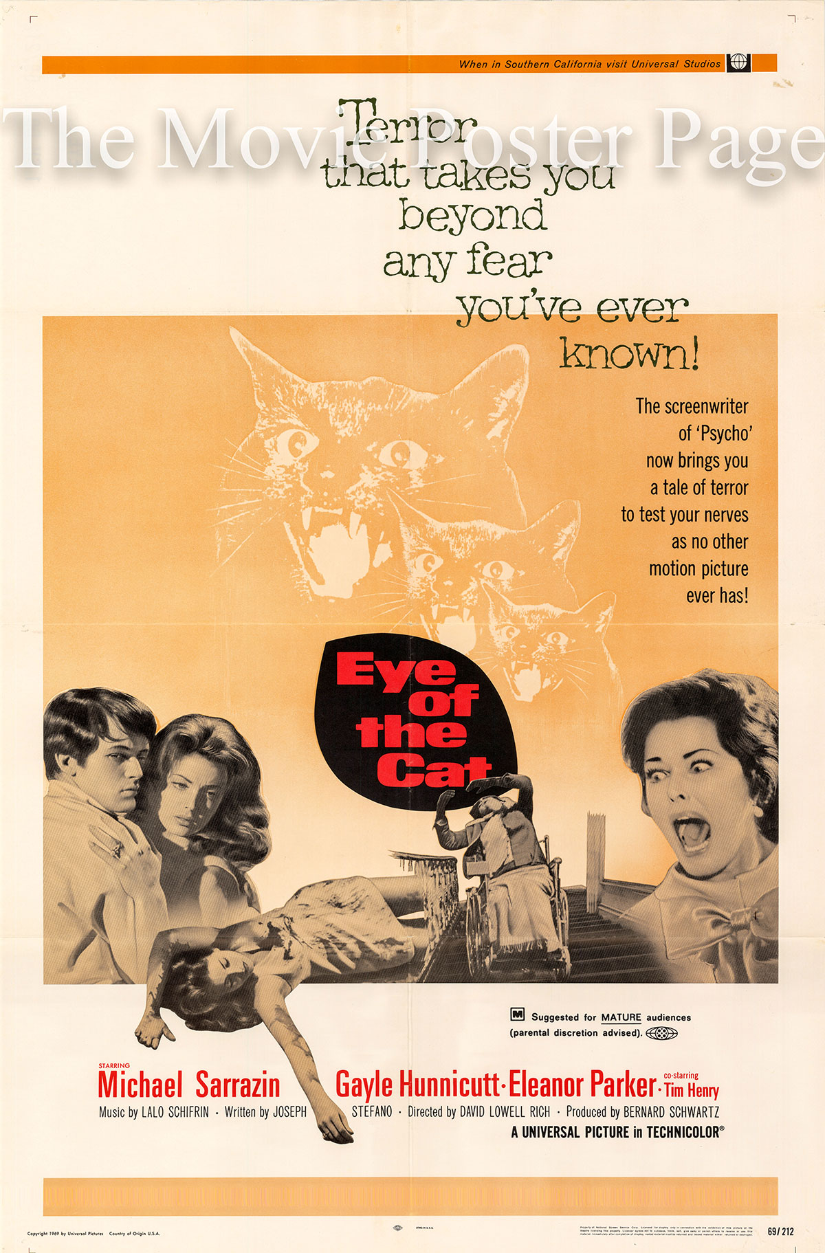 Pictured is a US one-sheet poster for the 1969 David Lowell Rich film Eye of the Cat starring Michale Sarrazin as Wylie.