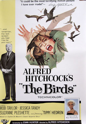 Pictured is a reprint of a promotional film poster for the 1963 Alfred Hitchcock film The Birds starring Tippi Hedren and Jessica Tandy.