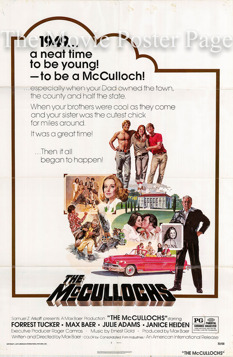 Pictured is a US one-sheet poster for the 1975 Max Baer film The Mcculloghs starring Forrest Tucker.