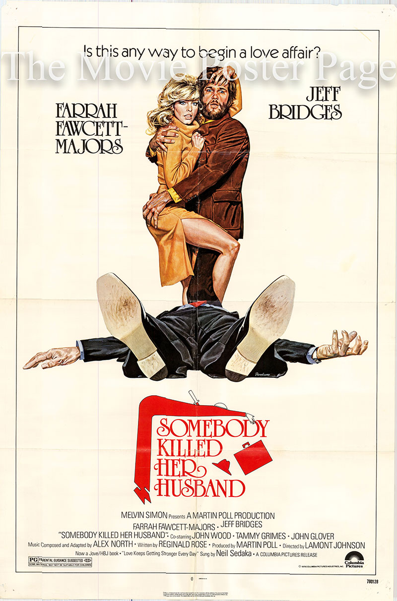 Pictured is a US one-sheet poster for the 1978 Lamont Johnson film Somebody Killed Her Husband starring Farrah Fawcett.