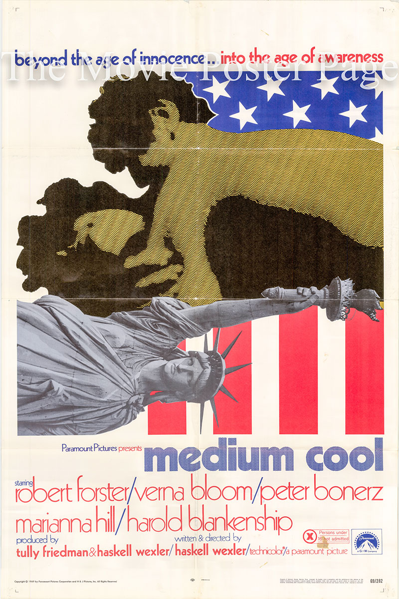Pictured is a US one-sheet poster for the 1969 Haskell Wexler film Medium Cool starring Robert Forster.