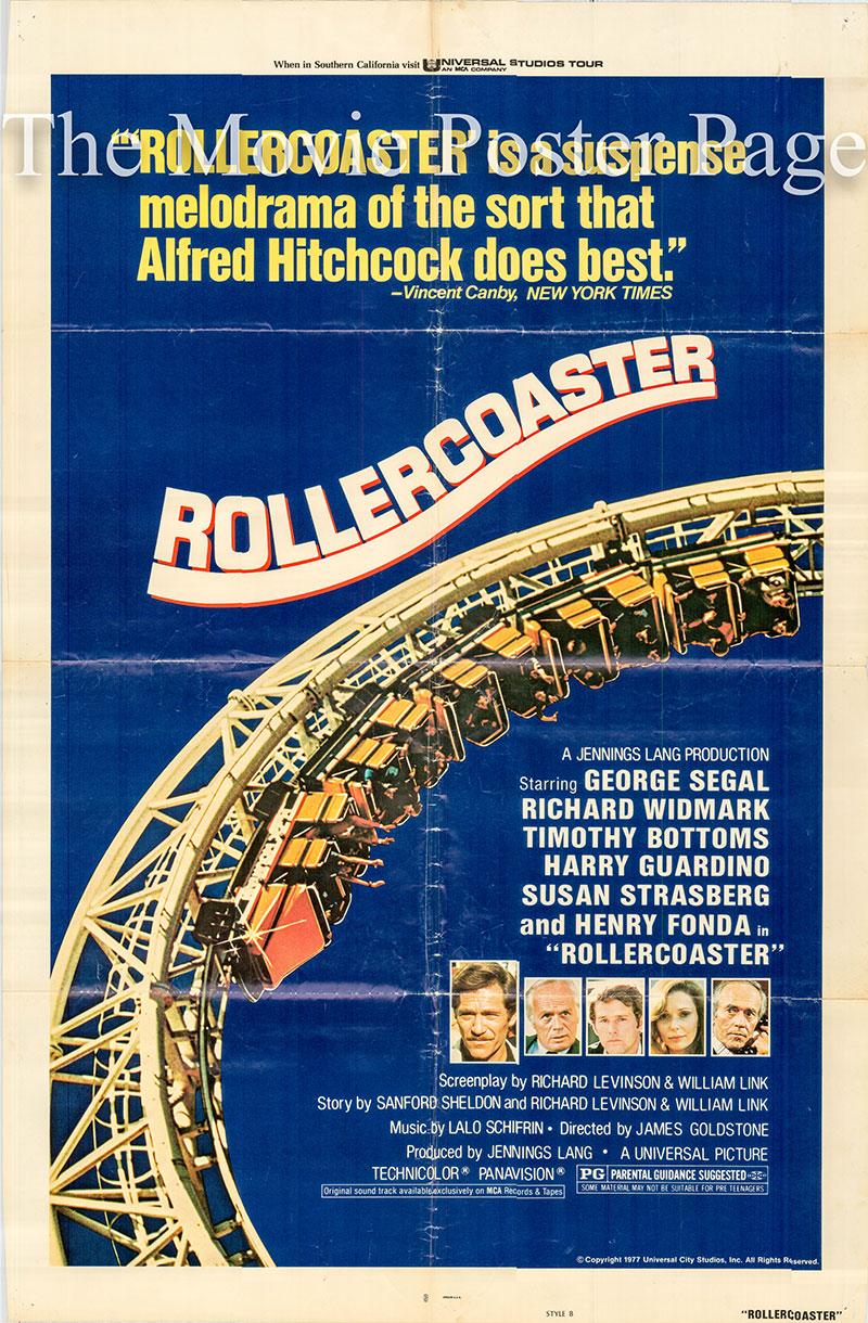 Pictured is a US one-sheet poster for the 1977 James Goldstone film Rollercoaster starring George Segal as Harry Calder.