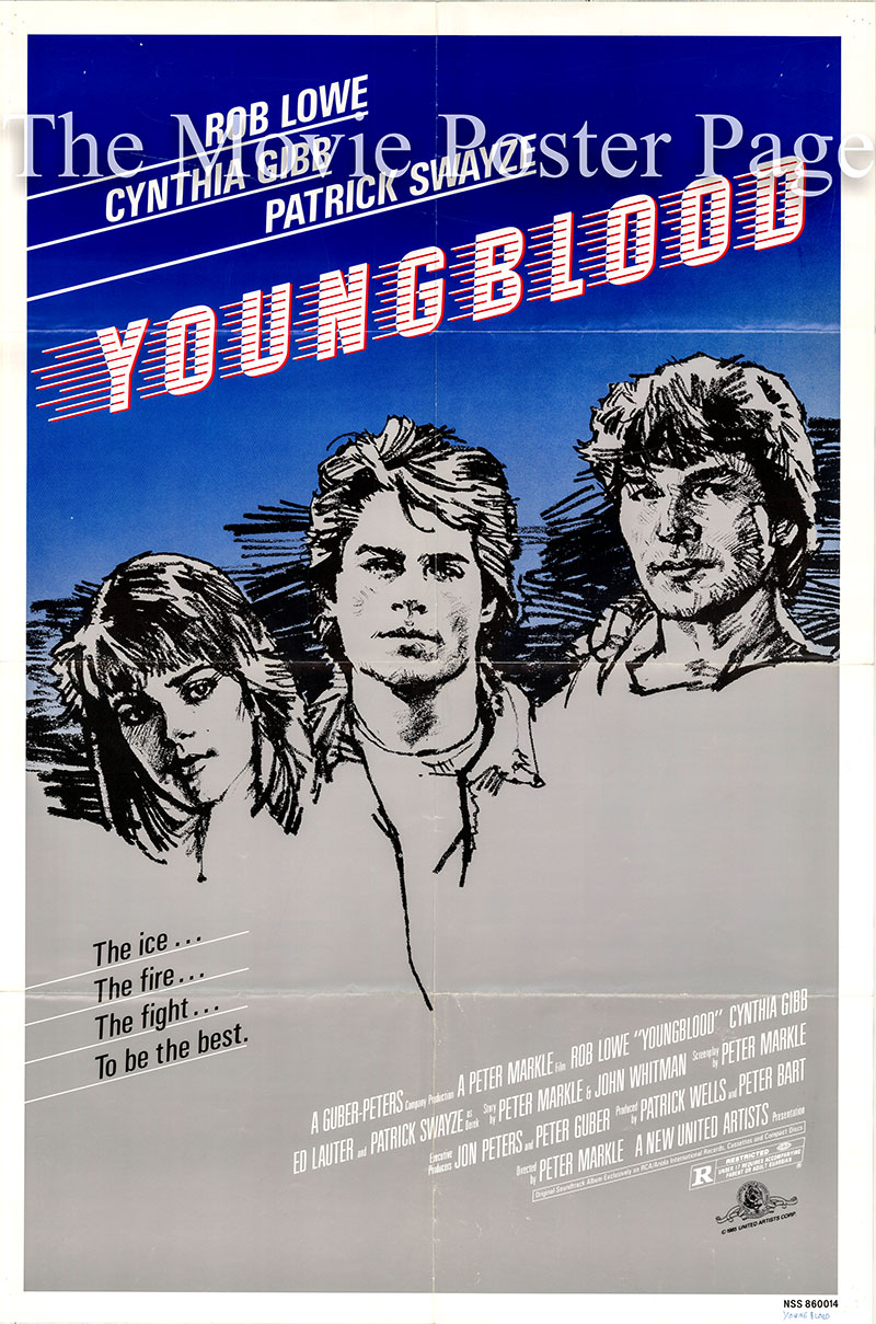 Pictured is a US one-sheet poster for the 1986 Peter Markle film Youngblood starring Rob Lowe as Dean Youngblood.