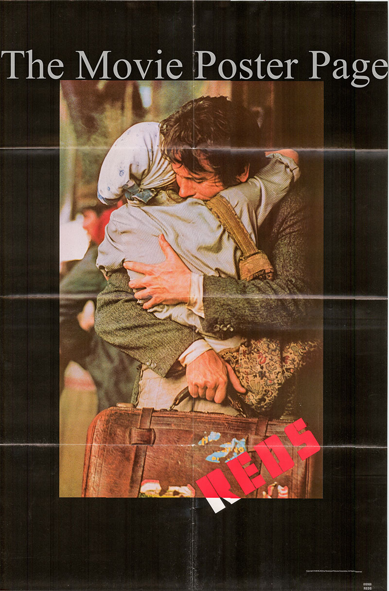 Pictured is a US one-sheet poster for the 1981 Warren Beatty film Reds starring Warren Beatty as John Reed.