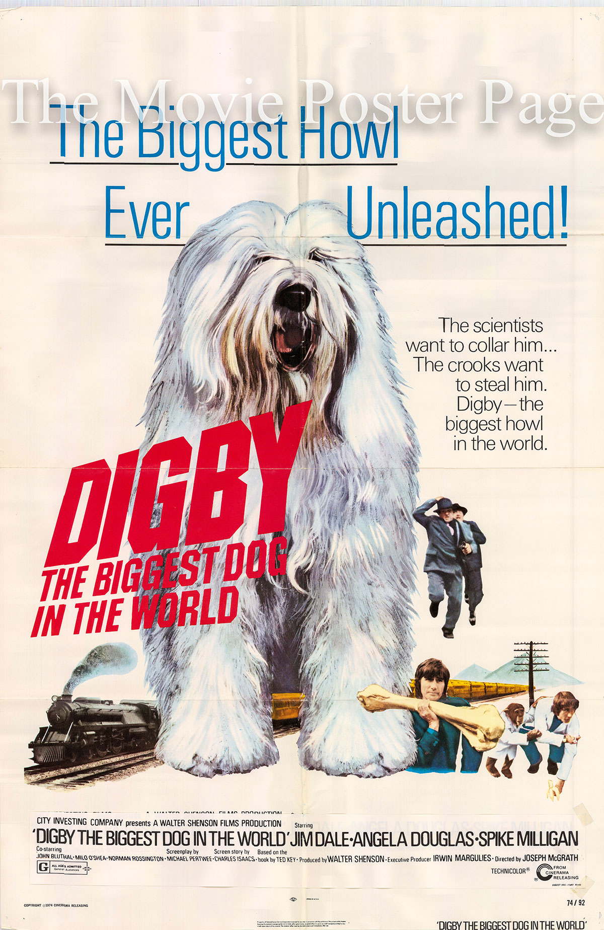 Pictured is a US one-sheet poster for the 1974 Joseph McGrath film Digby, the Biggest Dog in the World starring Jim Dale as Jeff Eldon.