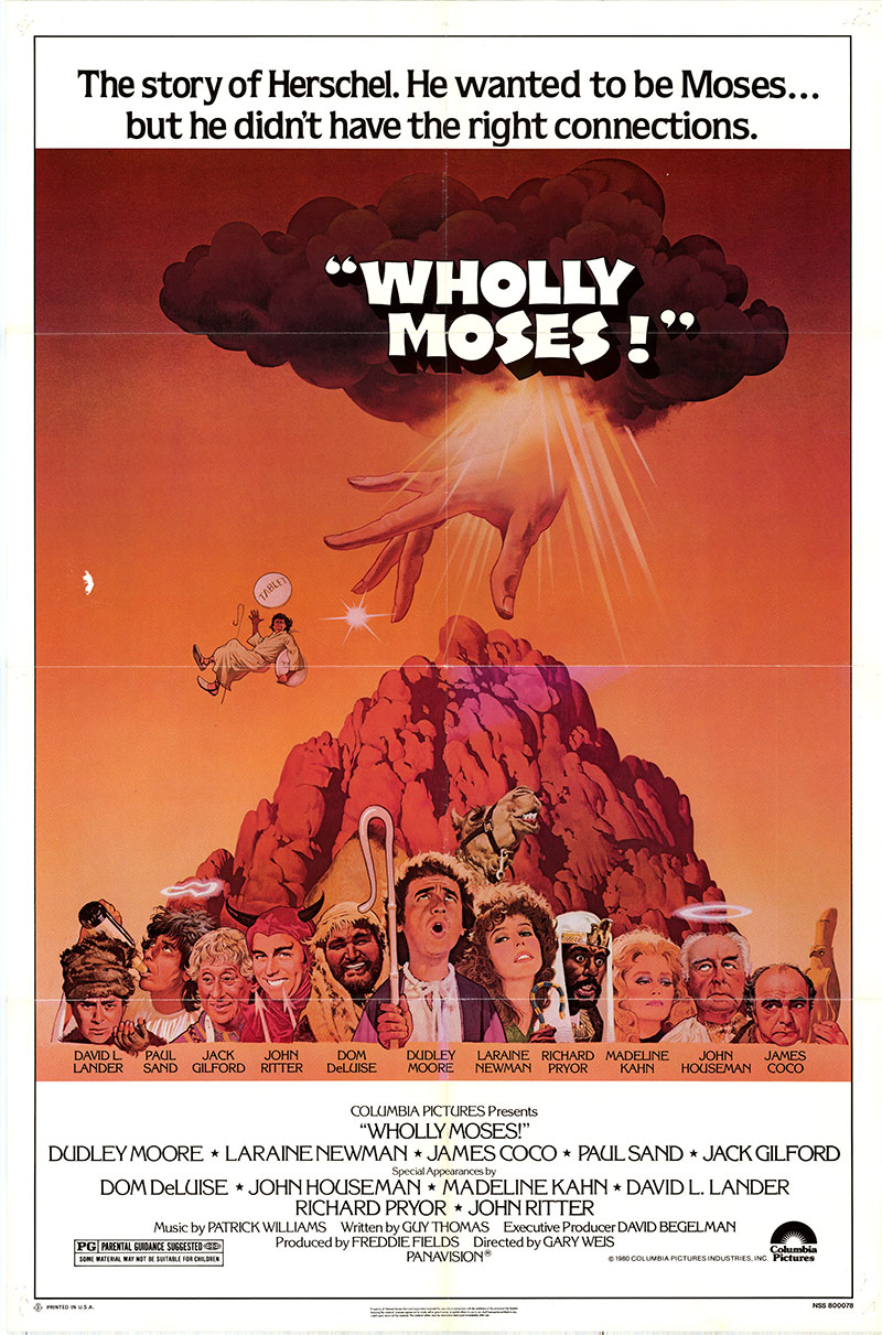 Pictured is a US one-sheet poster for the 1980 Gary Weis film Wholly Moses! starring Dudley Moore as Harvey Orchid.