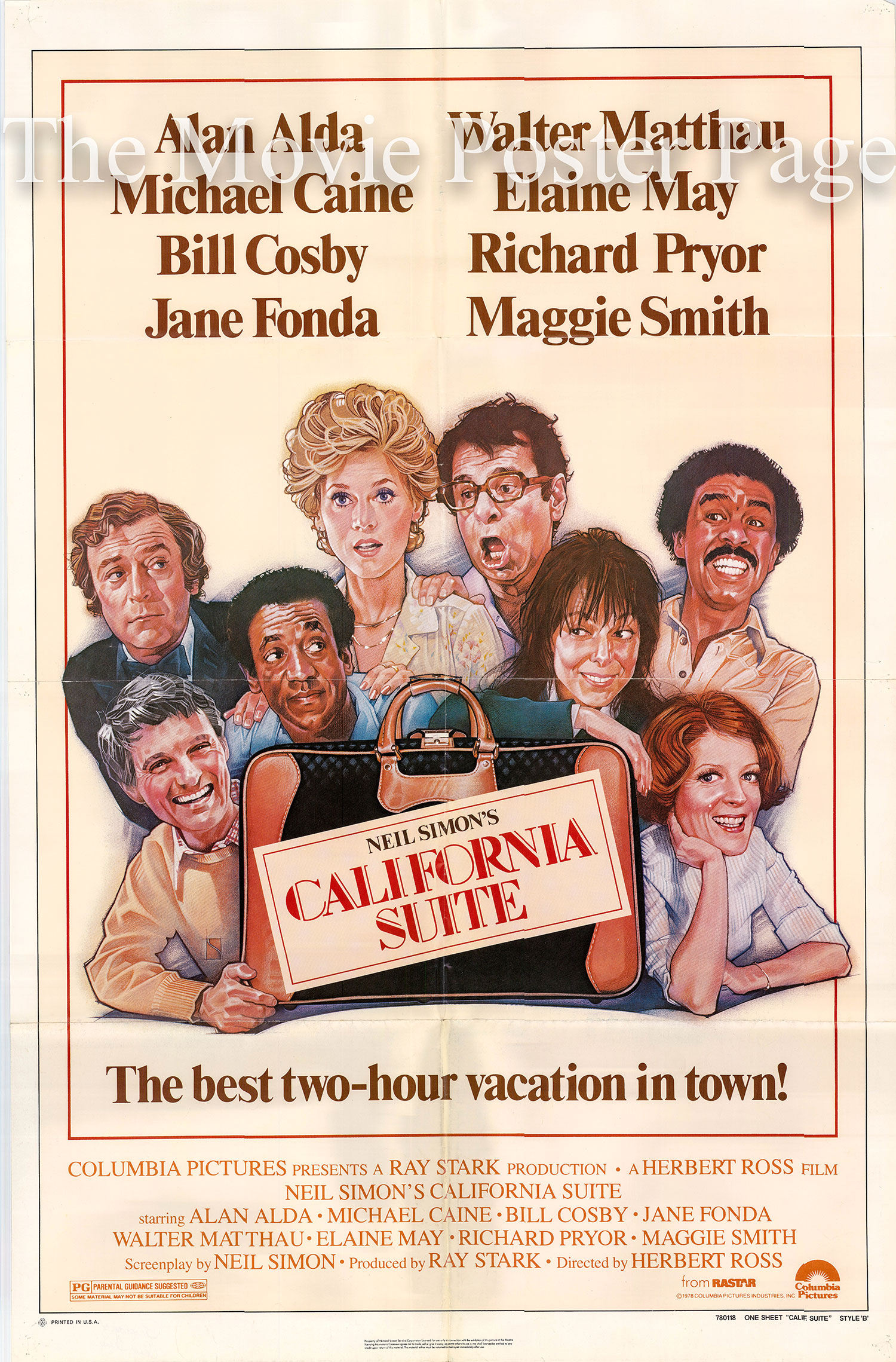 Pictured is a US one-sheet poster for the 1978 Herbot Ross film California Suite starring Alan Alda.