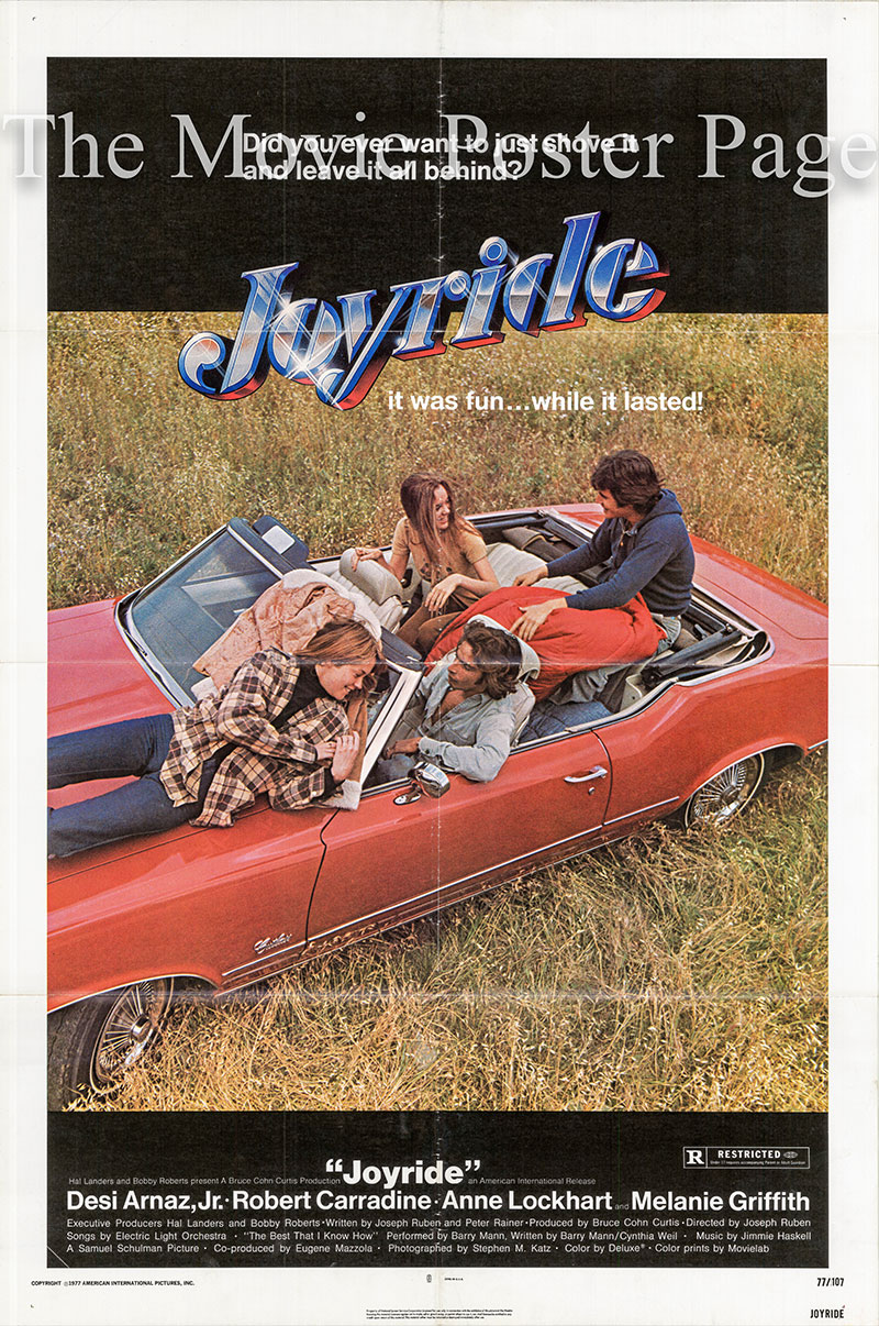 Pictured is a US one-sheet poster for the 1977 Joseph Ruben film Joyride starring Desi Arnaz Jr.