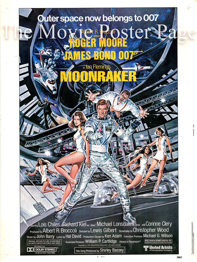 This is a US 30x40 promotional poster designed by Dan Gouzee to promote the 1974 Lewis Gilbert film Moonraker starring Roger Moore as James Bond.