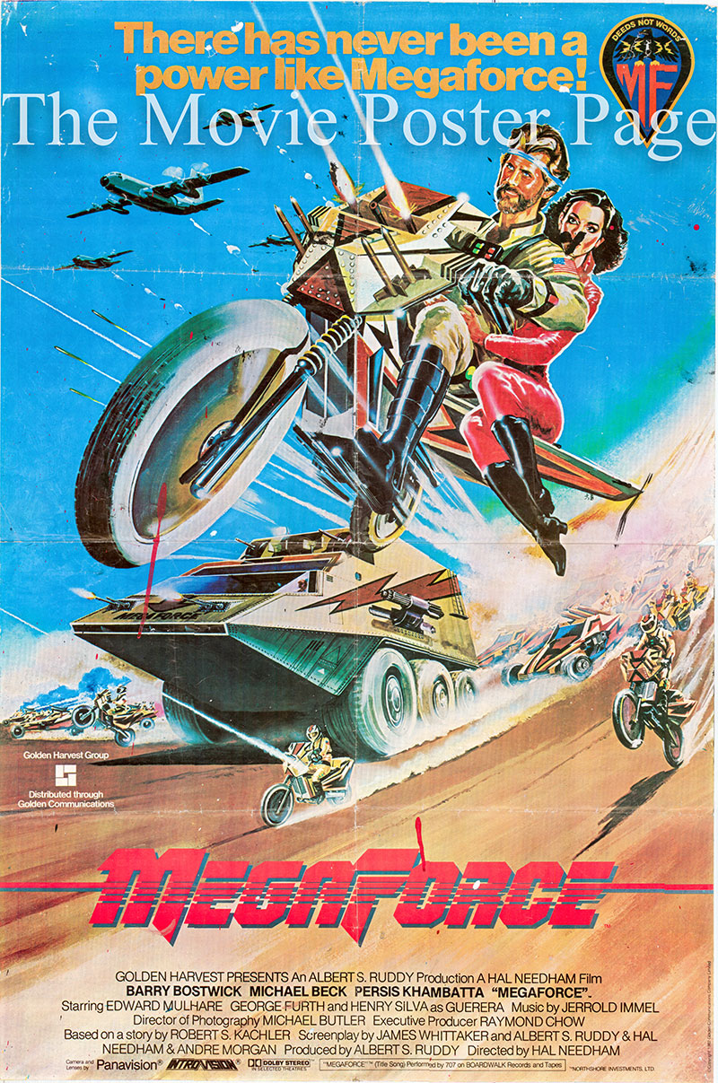 Pictured is a Hong Kong one-sheet for the 1982 Hal Needham film Megaforce starring Barry Bostwick as Commander Ace Hunter.