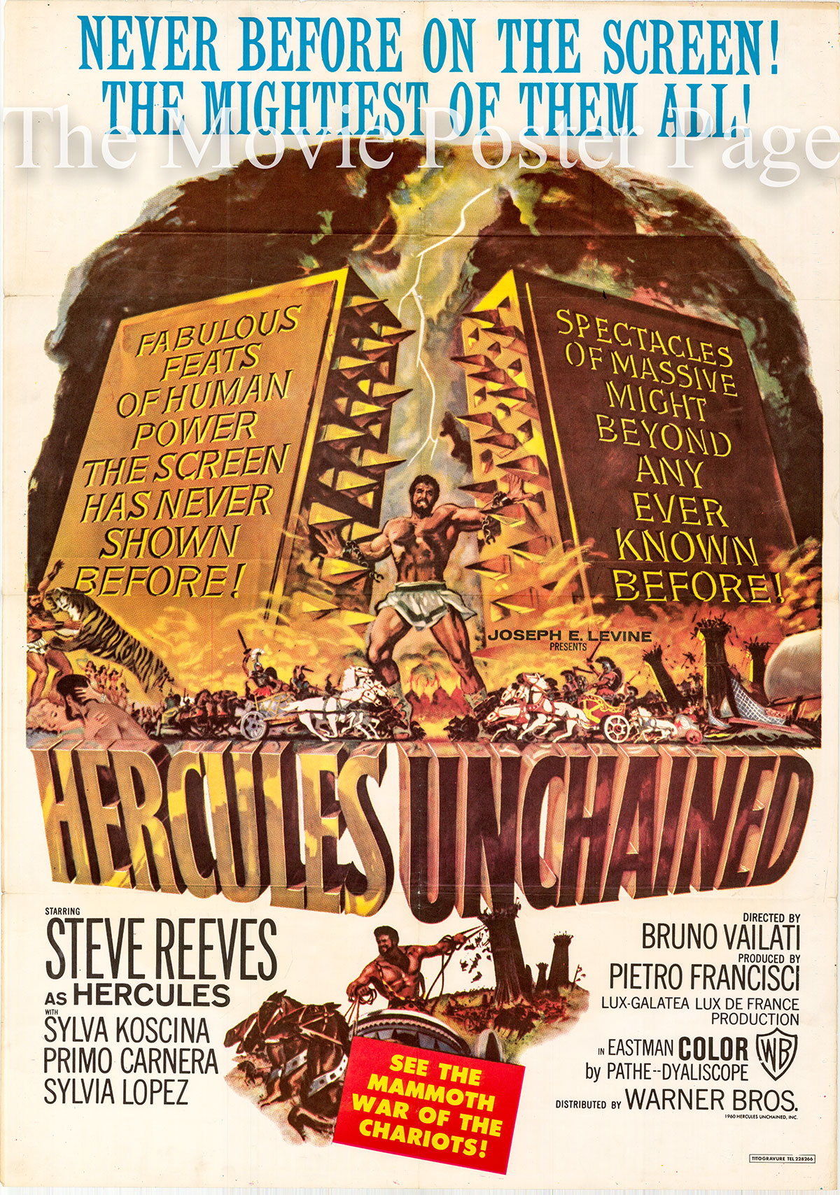 Pictured is a Lebanese one-sheet poster for a 1960 rerelease of the 1959 Bruno Vailati film Hercules Unchained starring Steve Reeves as Hercules.