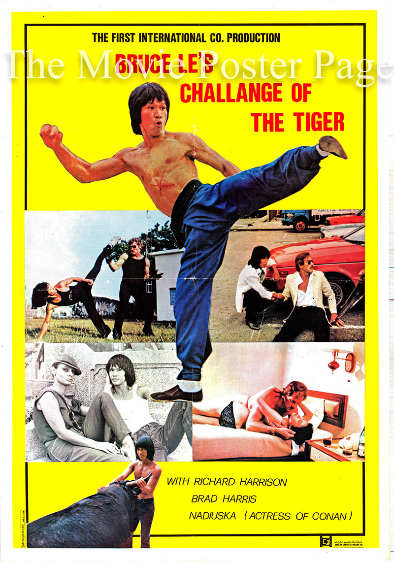 Pictured is an Lebanese promotional poster for the 1980 Bruce Le film Challenge of the Tiger starring Bruce Le.