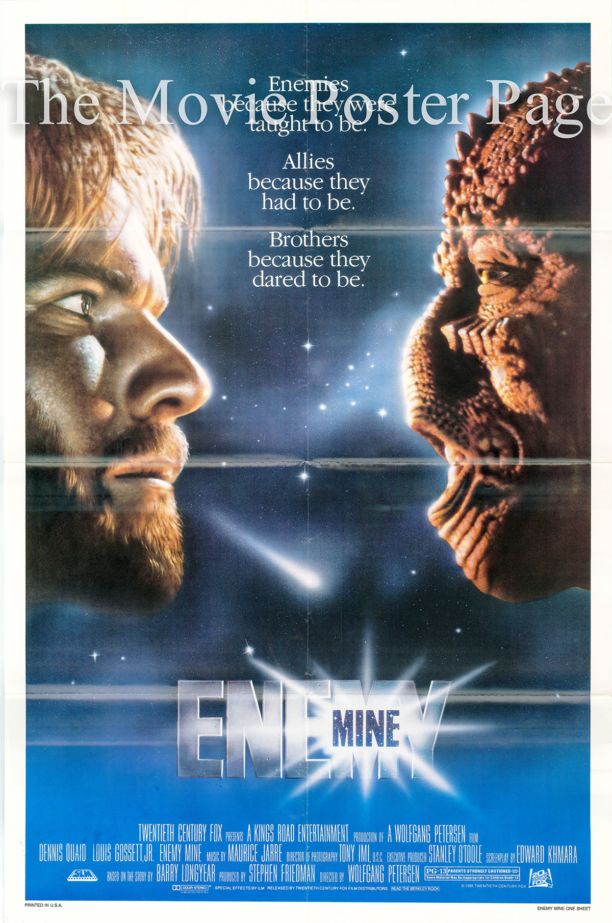 Pictured is a US one-sheet for  the 1985 Wolfgang Peterson film Enemy Mine starring Dennis Quaid as Willis Davidge.