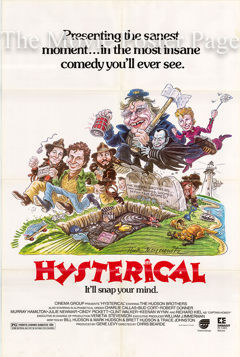 Pictured is a US one-sheet poster for the 1983 Chris Bearde film Hysterical starring Bill Hudson.