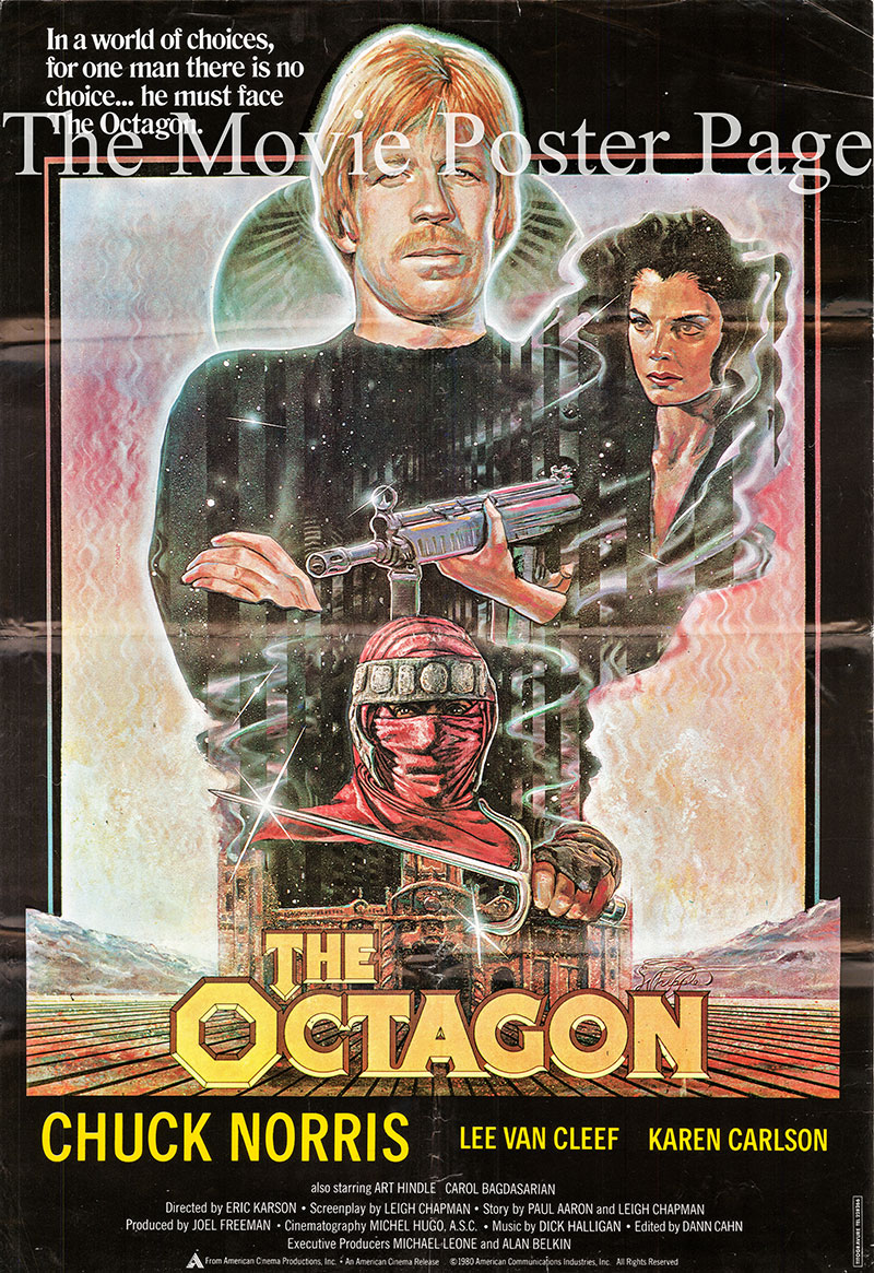 Pictured is an Lebanese one-sheet poster for the 1980 Eric Karson film Octagon starring Chuck Norris as Scott James.