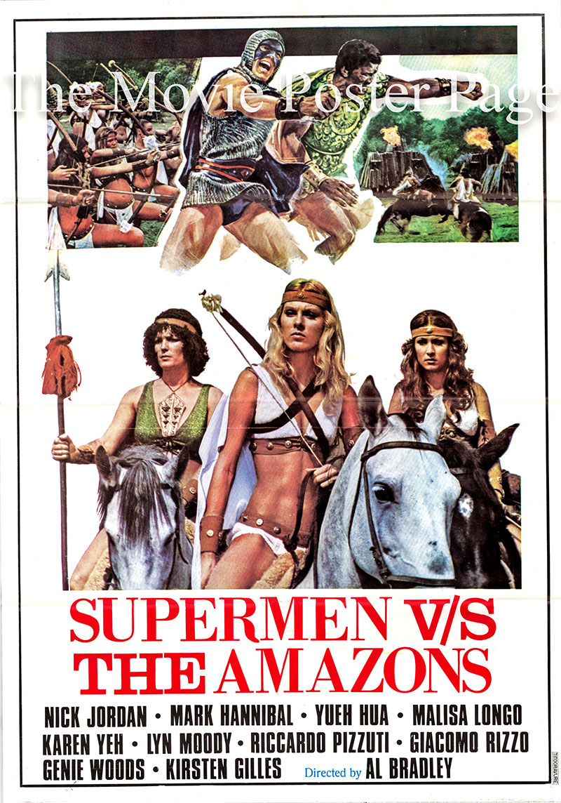 Pictured is an Italian one-sheet poster for the 1974 Al Bradley film Super Stooges vs. the Wonder Women.