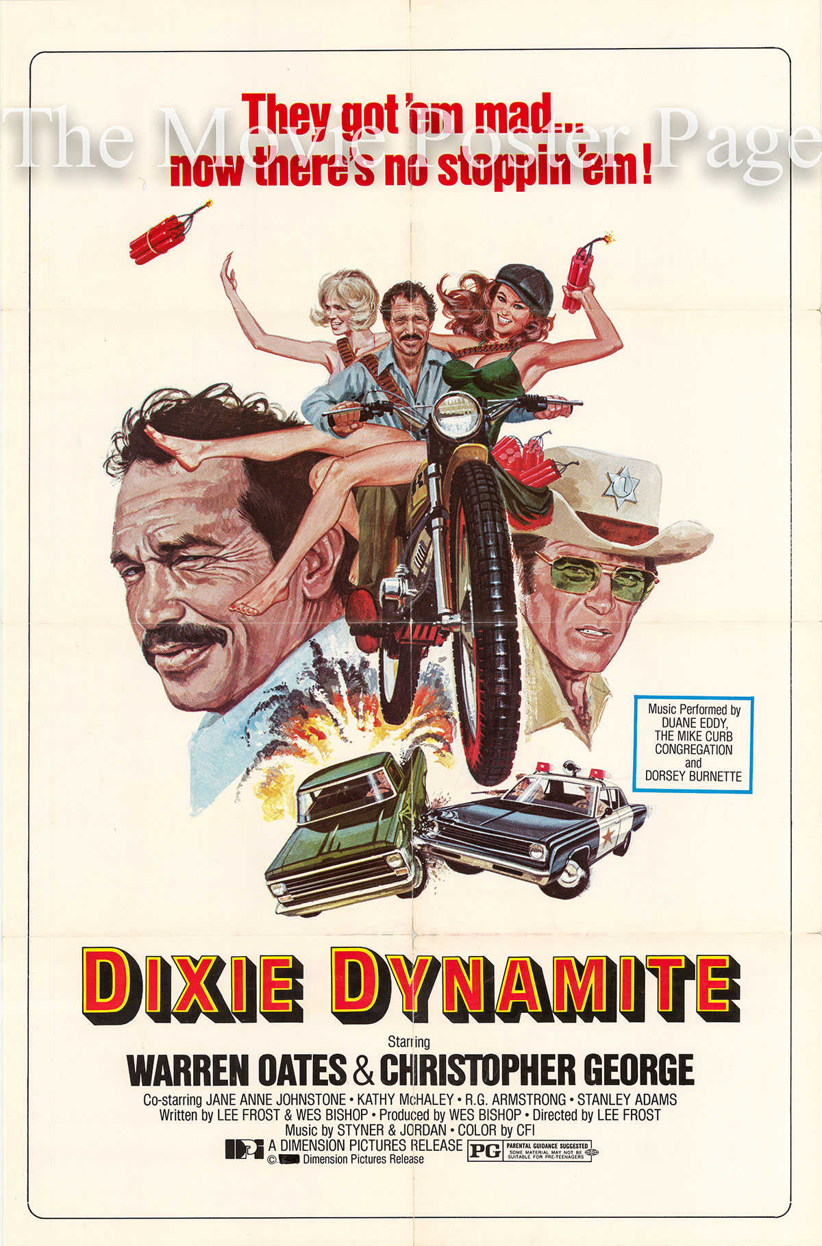Pictured is a US one-sheet poster for the 1976 Lee Frost film Dixie Dynamite starring Warren Oates as Mack.