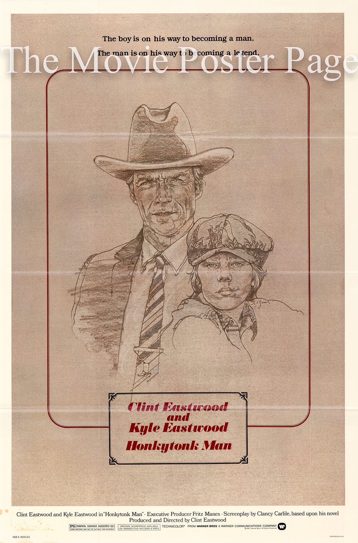 Pictured is a US one-sheet poster for the 1982 Clint Eastwood film Honkytonk Man starring Clint Eastwood.