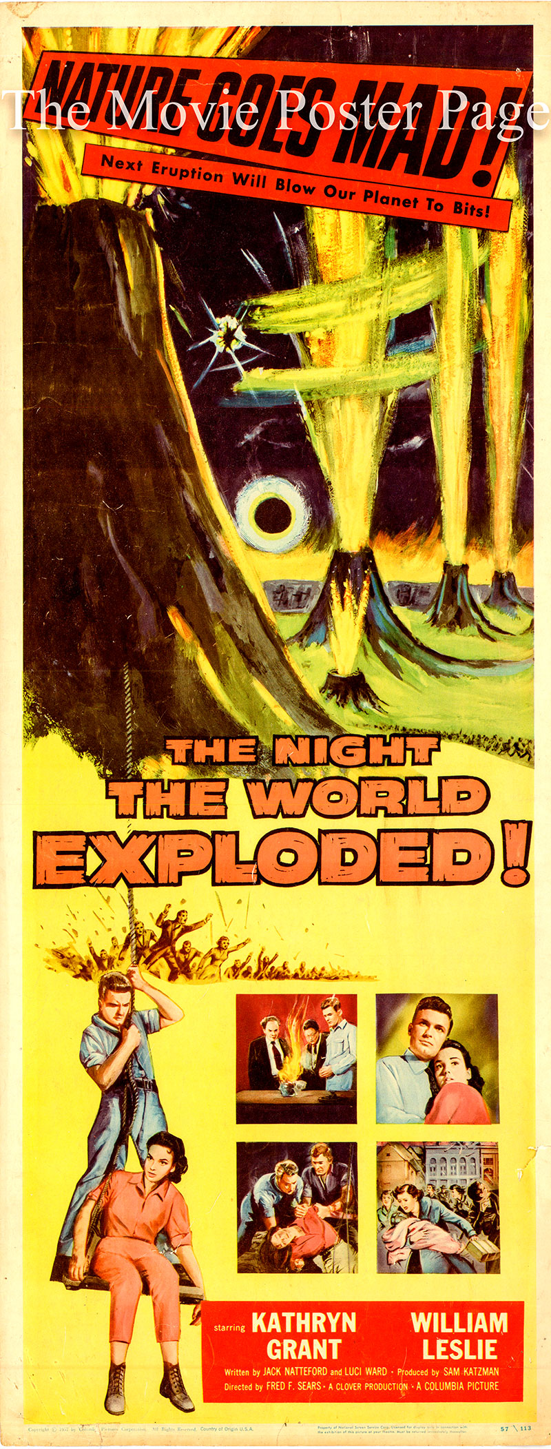 Pictured is a US insert promotional poster for the 1957 Fred. F. Sears film The Night the World Exploded starring Katyryn Grant.