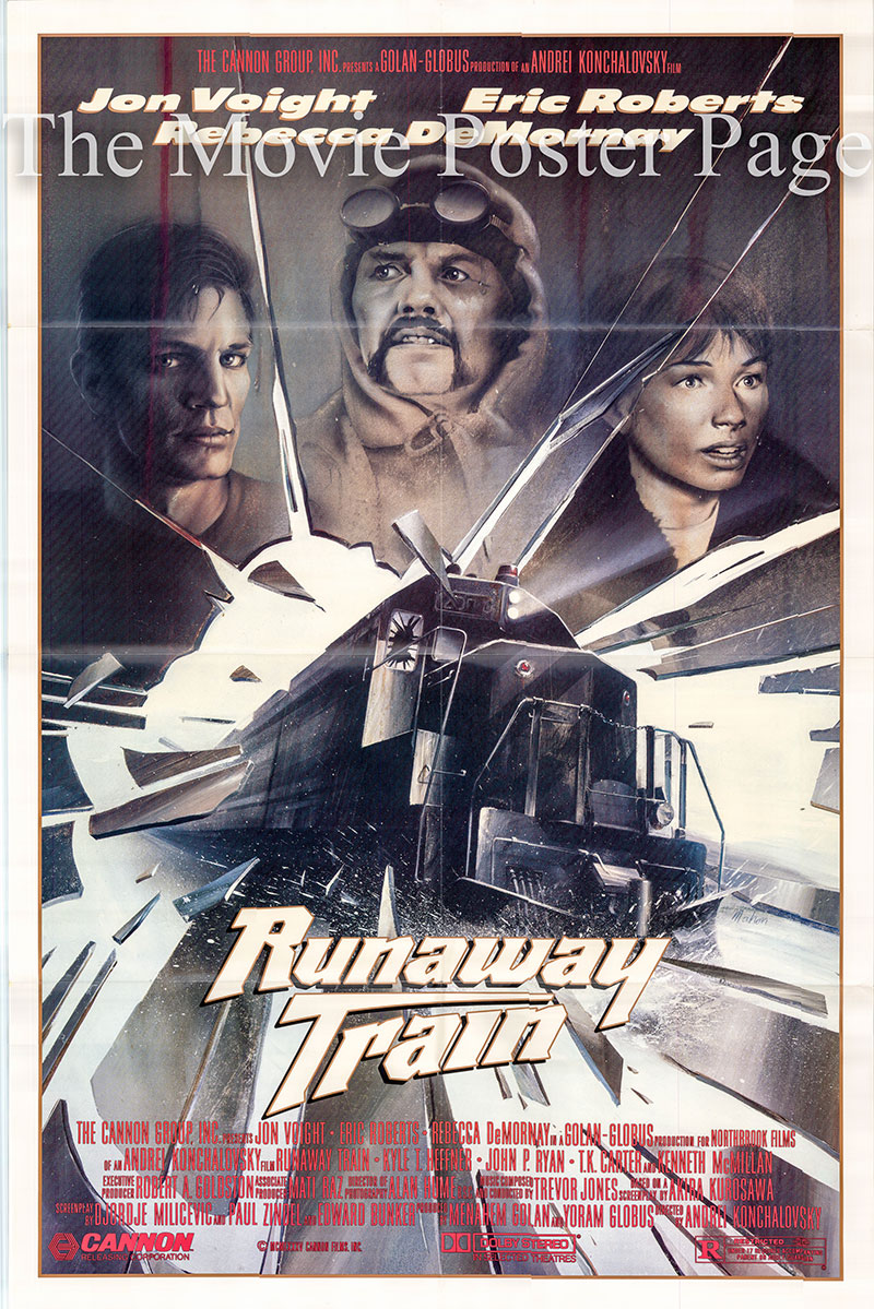 Pictured is a US one-sheet promotional poster for the 1985 Andrey Konchalovsky film Runaway Train starring John Voight as Oscar 'Manny' Manheim.