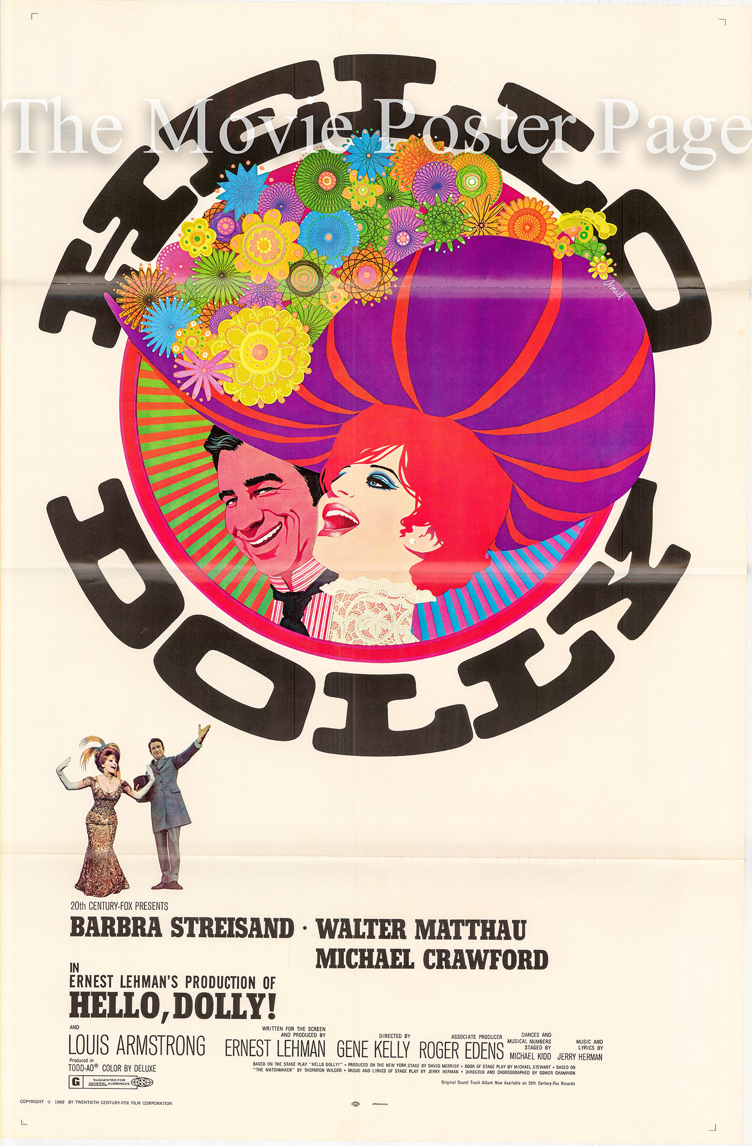 Pictured is a US promotional poster for the 1969 Gene Kelly film Hello Dolly starring Barbra Streisand as Dolly.