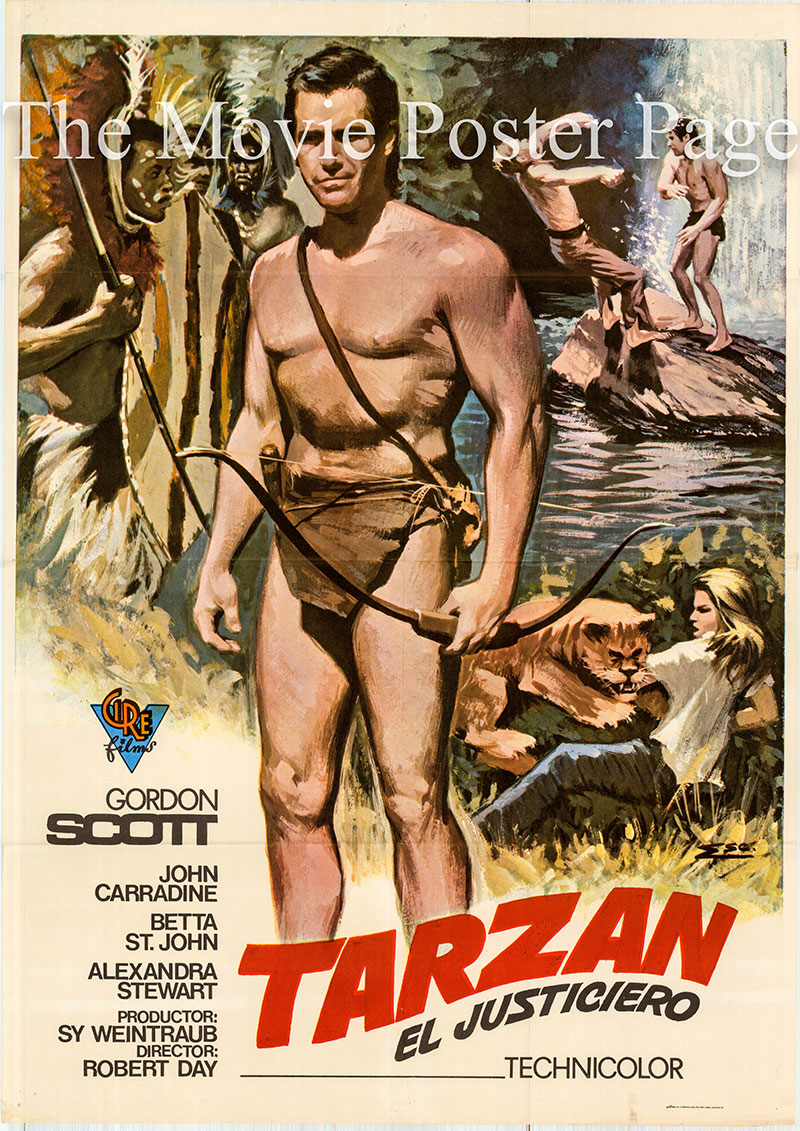 Pictured is a Spanish one-sheet poster for a 1973 rerelease of the 1960 Robert Day film Tarzan the Magnificent starring Gordon Scott as Tarzan.