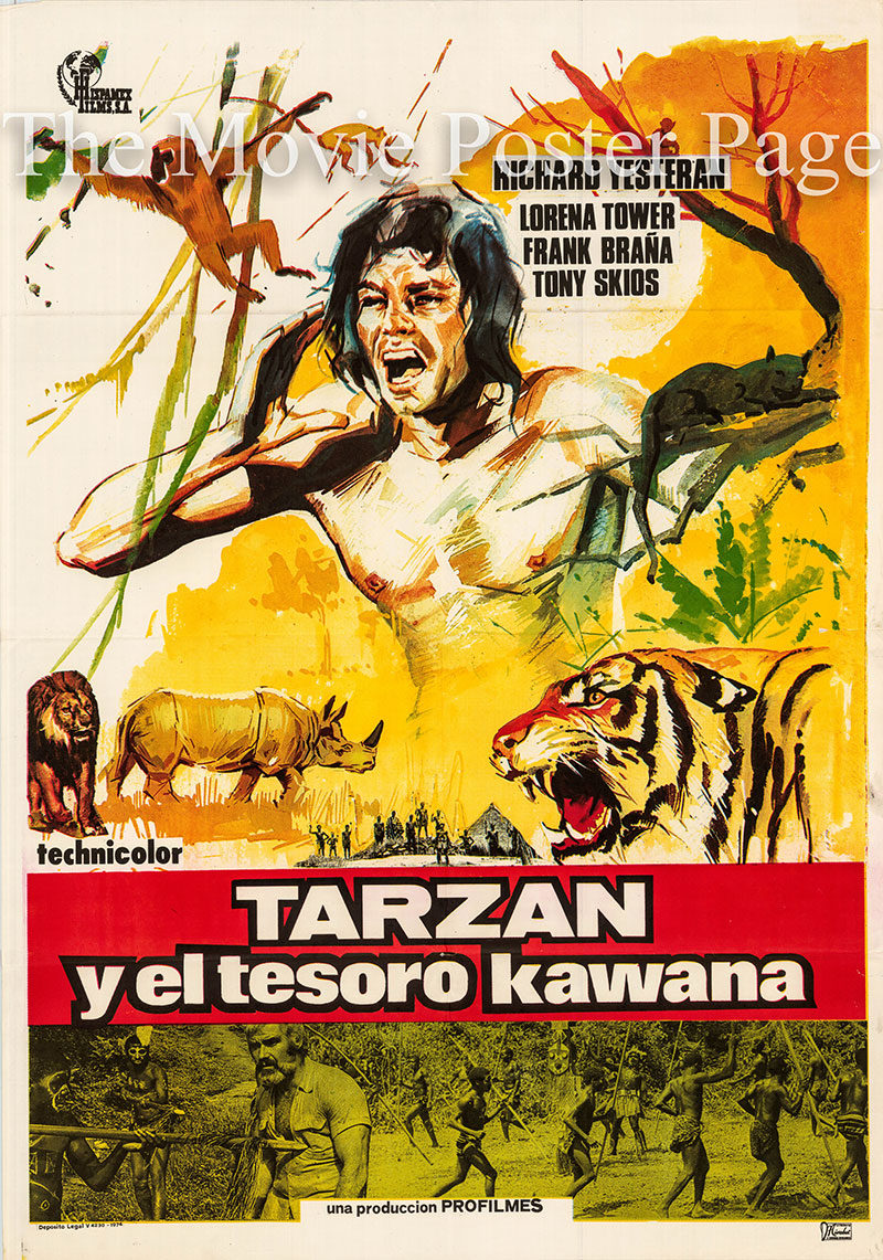 Pictured is a Spanish one-sheet promotional poster for the 1975 Jose Truchado film Tarzan and the Kawana Treasure starring Richard Yesteran as Tarzan.