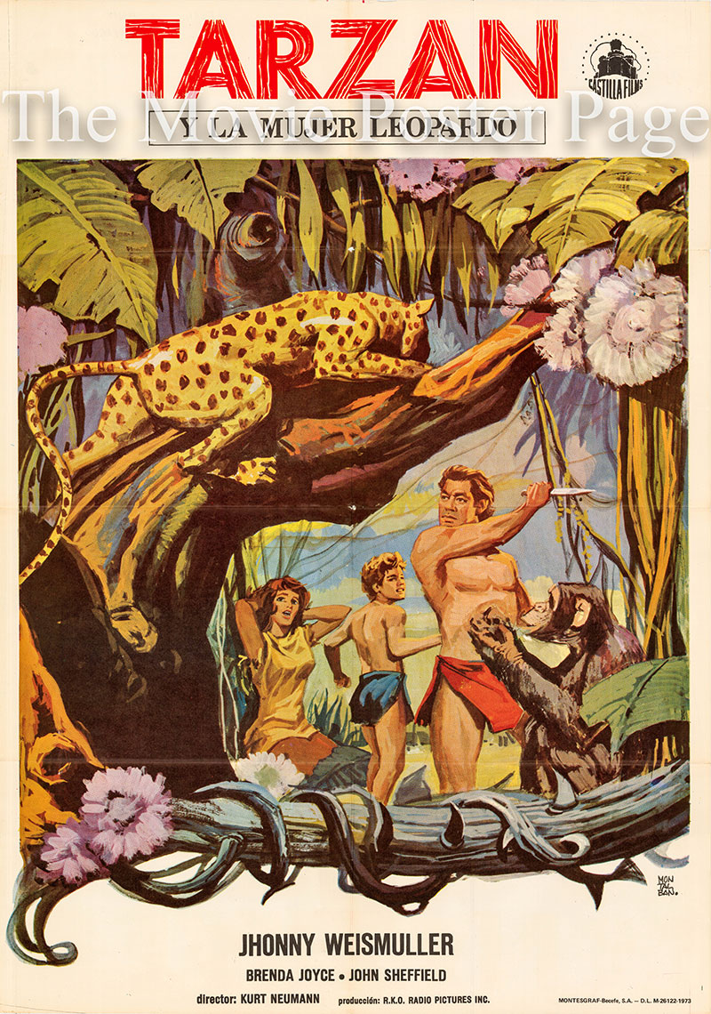 Pictured is a Spanish one-sheet poster for a 1973 rerelease of the 1946 Kurt Neumann film Tarzan and the Leopard Woman starring Johnny Weissmuller as Tarzan.