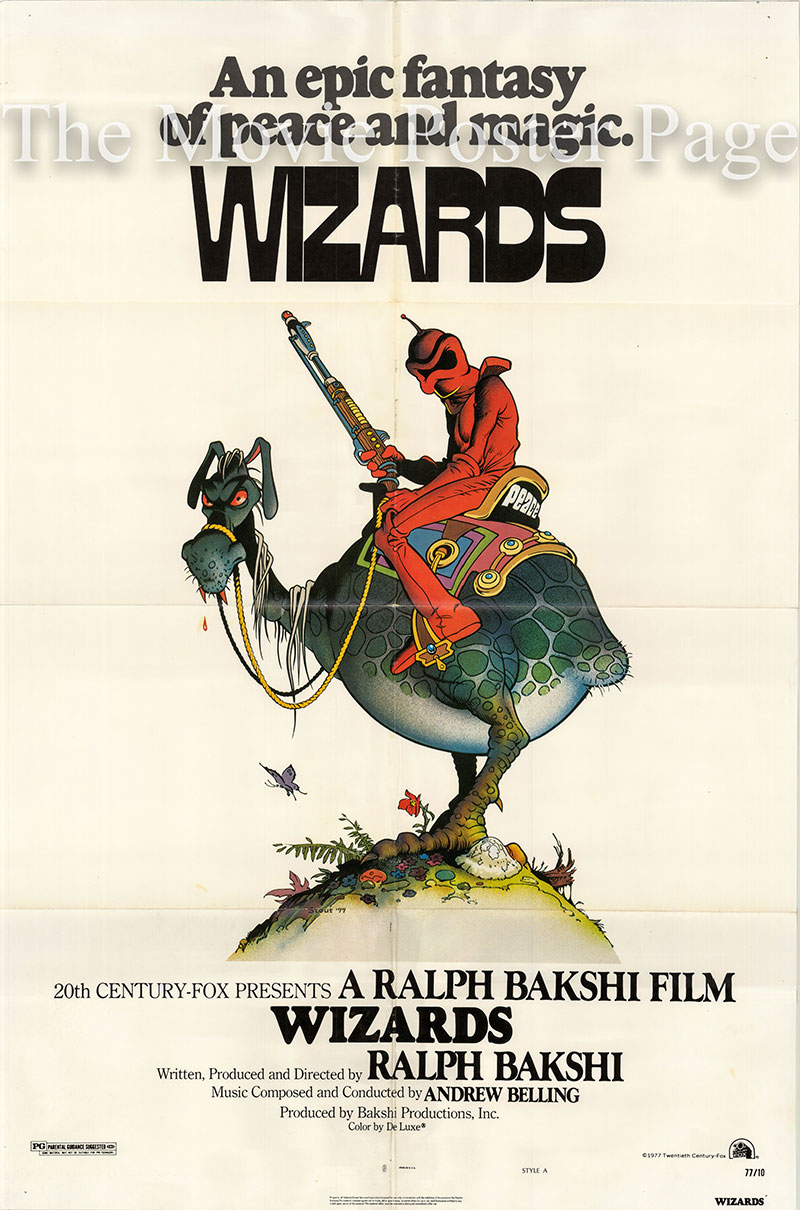 Pictured is a US one-sheet promotional poster for the 1977 Ralph Bakhshi film Wizards.