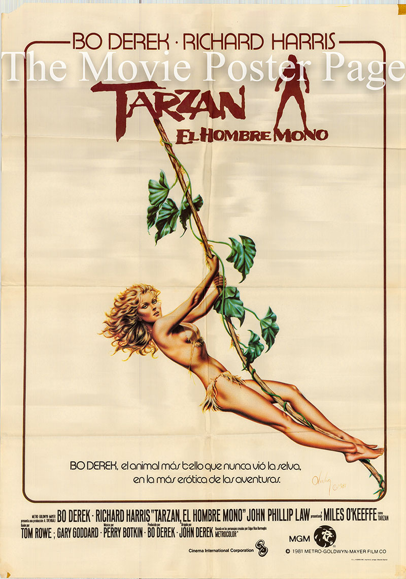 Pictured is a Spanish one-sheet poster for the 1981 John Derek film Tarzan the Ape Man starring Miles O'Keefe as Tarzan.