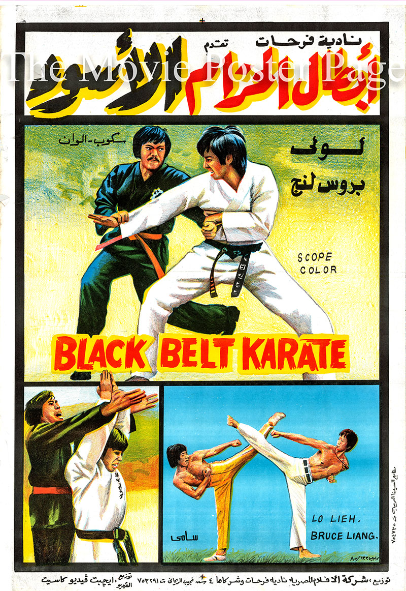 Pictured is an Egyptian promotional poster for the 1979 Wisjnu Mouradhy film Black Belt Karate, starring Chin-kun Li.