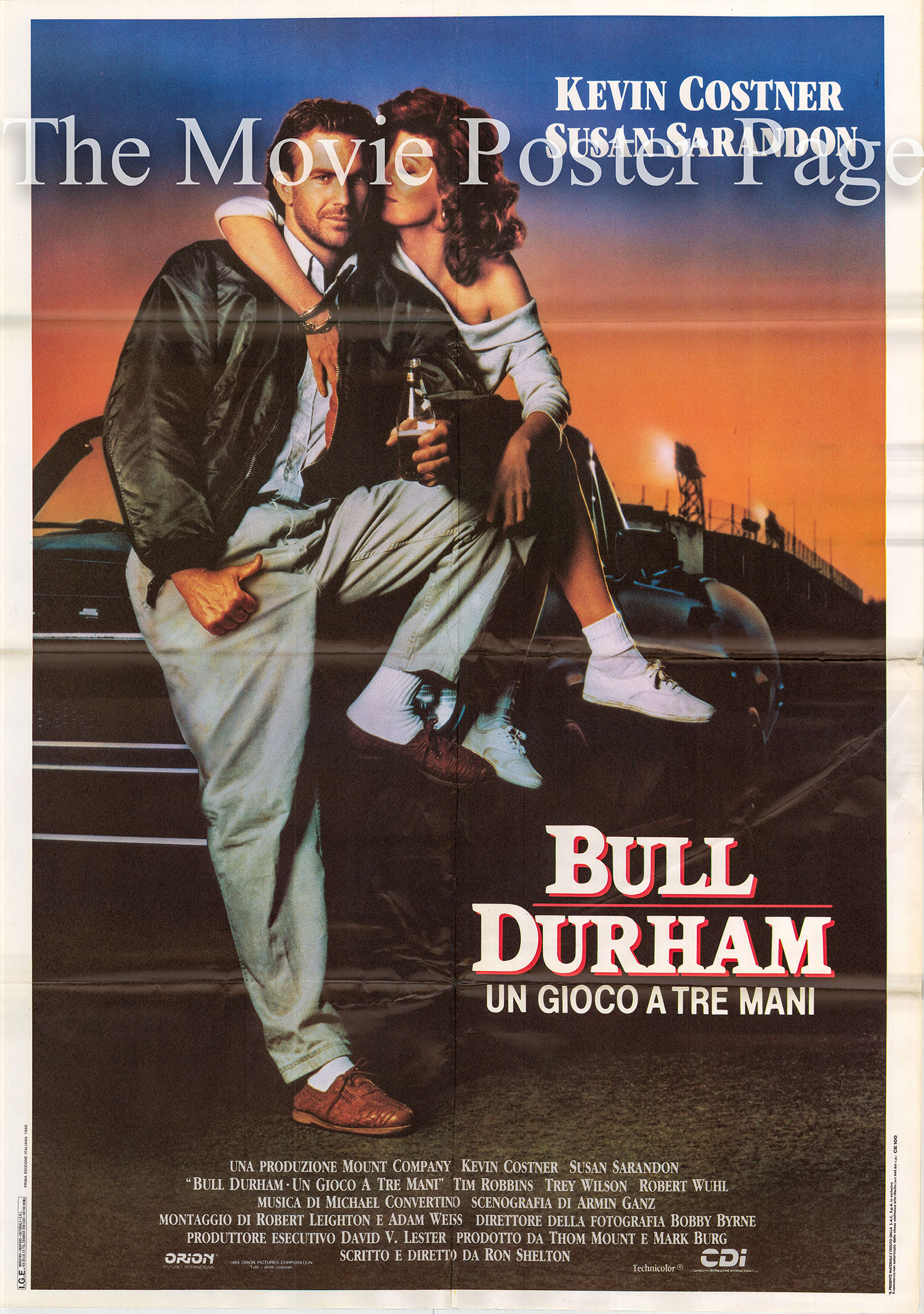 Pictured is an Italian two-sheet poster made to promote the 1988 Ron Shelton film Bull Durham starring Kevin Costner.