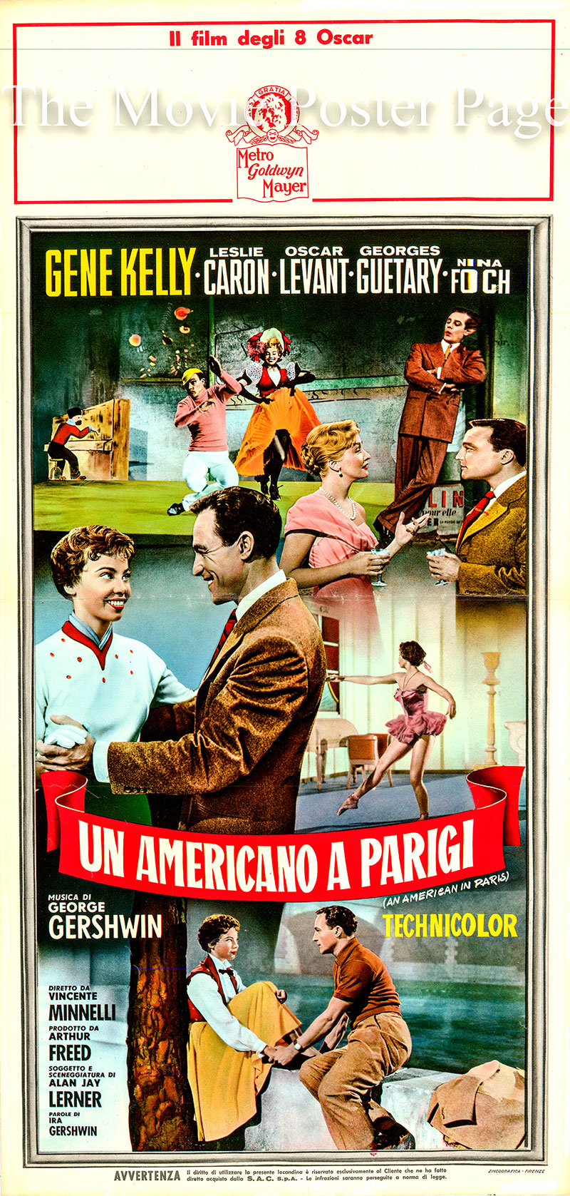 Pictured is an Italian locandina promotional poster for the 1951 Vincente Minnelli film <i>An American in Paris</i> based on story and screenplay by Alan Jay Lerner and starring Gene Kelly as Jerry Mulligan.
