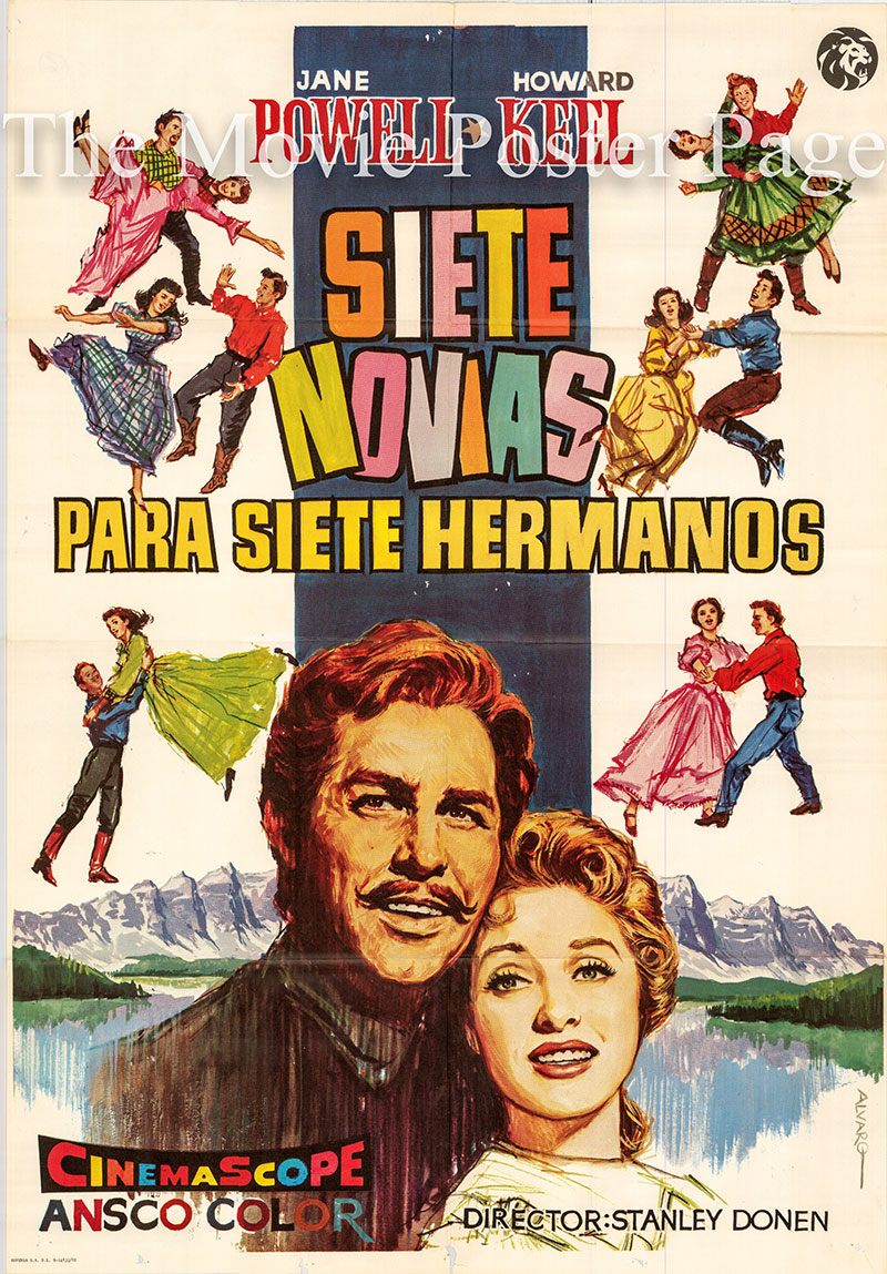 Pictured is a Spanish one-sheet poster for a 1982 rerelease of the 1954 Stanley Donen film Seven Brides for Seven Brothers starring Howard Keel as Adam Pontipee.