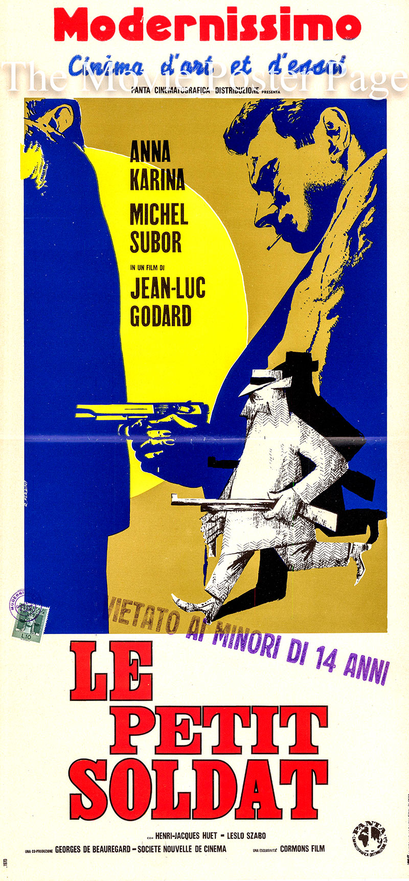 Pictured is an Italian locandina poster for a 1970 rerelease of the 1963 Jean-Luc Godard film <i>Le Petit Soldat</i> starring Michel Subor as Bruno Forestier.