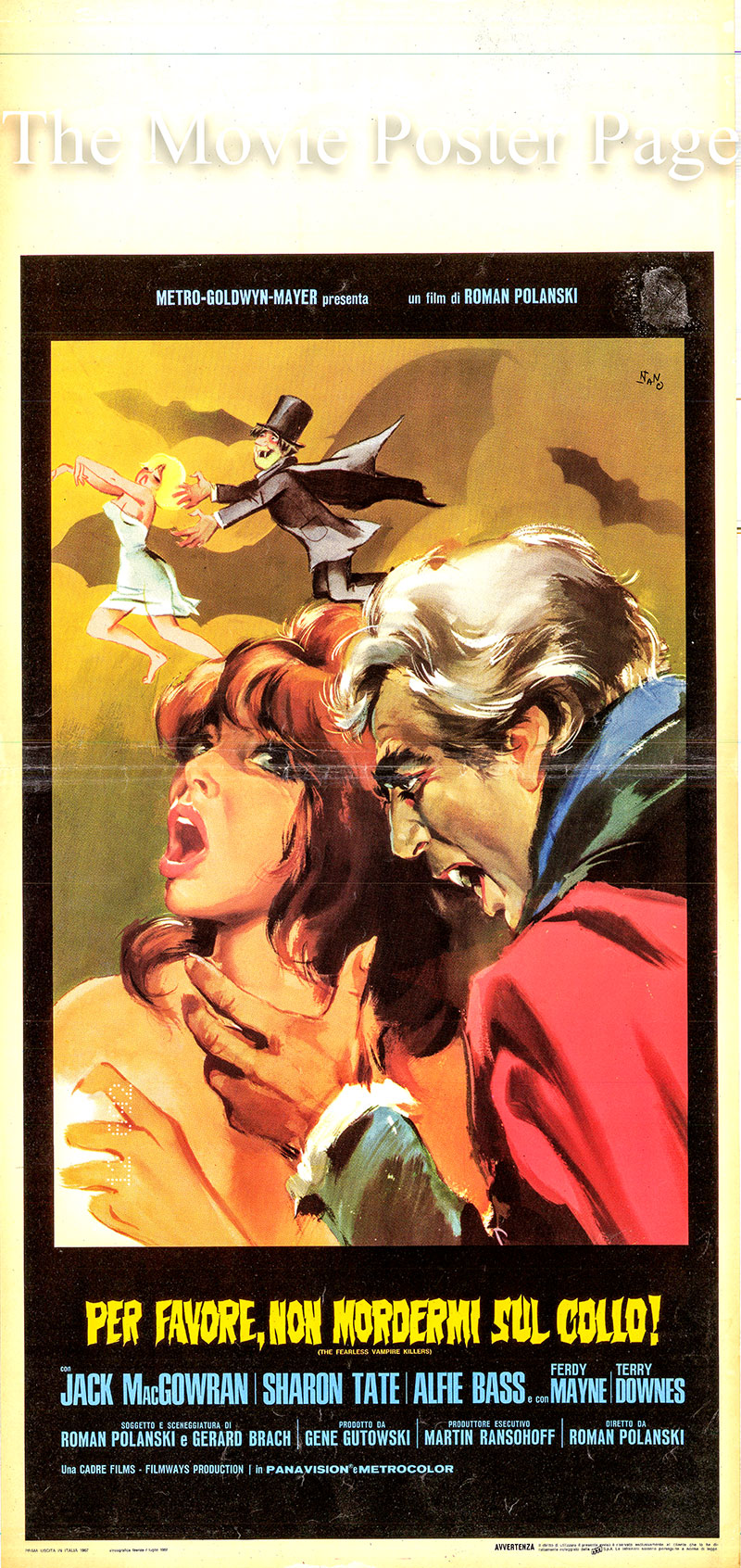 Pictured is an Italian locandina poster for the 1967 Roman Polanski film The Fearless Vampire Killers starring Jack MacGowran as Professor Abronsius.