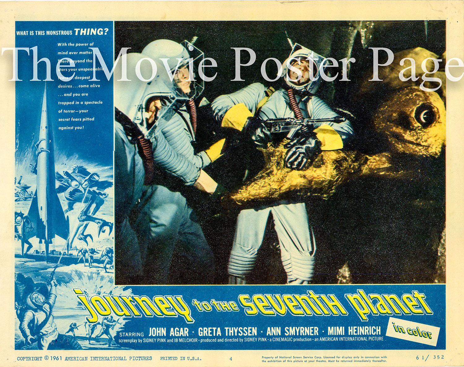 Pictured is a US lobby card for the 1961 Sidney W. Pink film Journey to the Seventh Planet starring John Agar.