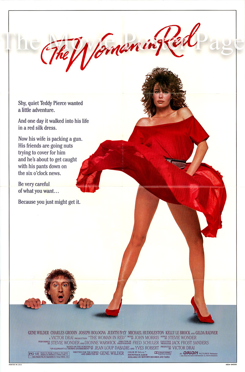 Pictured is a US promotional poster for the 1984 Gene Wilder film The Woman in Red, starring Gene Wilder.